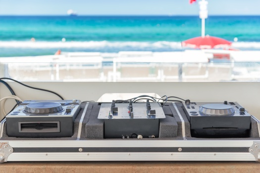 dj console on the beach